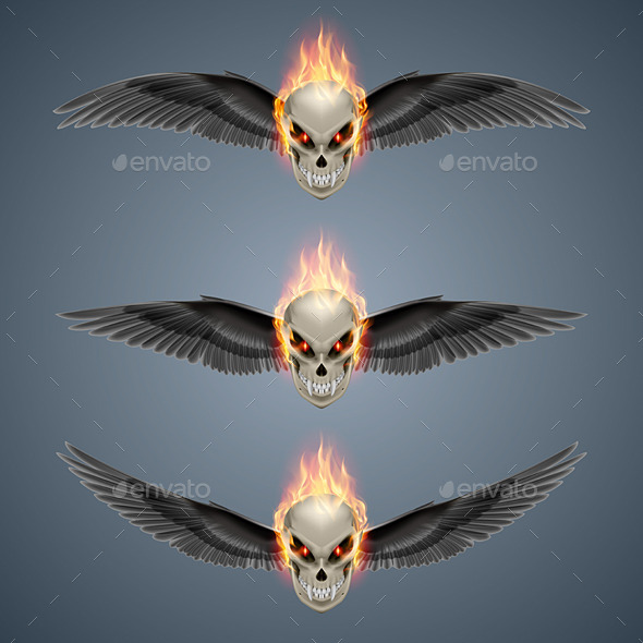 GraphicRiver Flaming Mutant Skulls 9937131