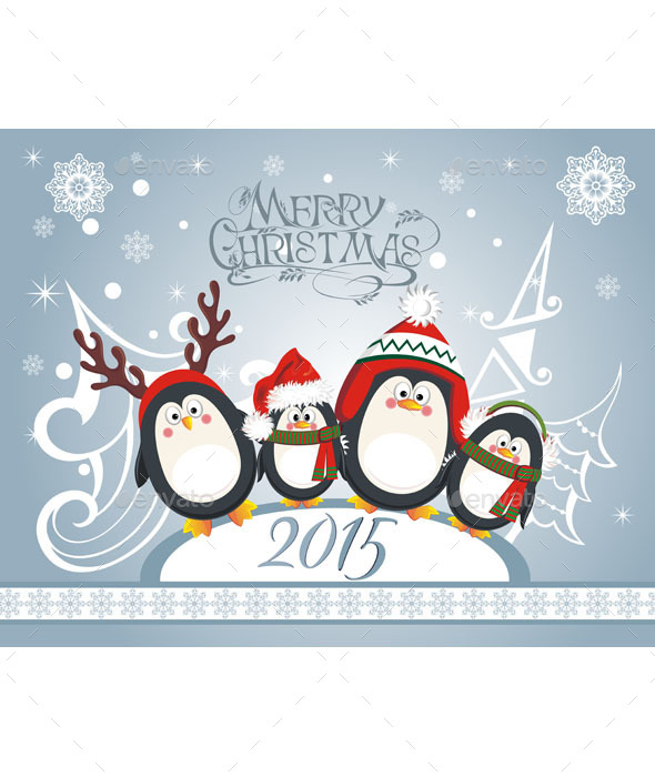 GraphicRiver Christmas Card with Penguins 9937385