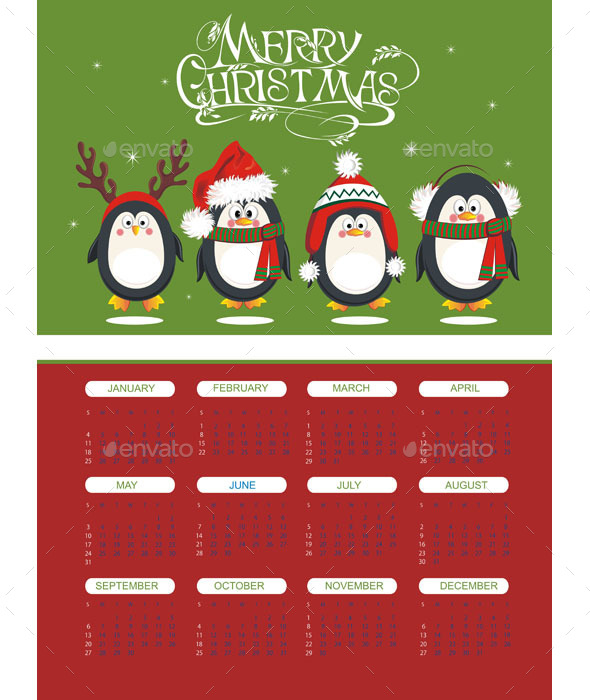 Merry Christmas Calendar with Penguins