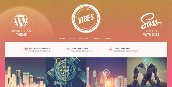 Vibes Colorful Compact Portfolio WordPress