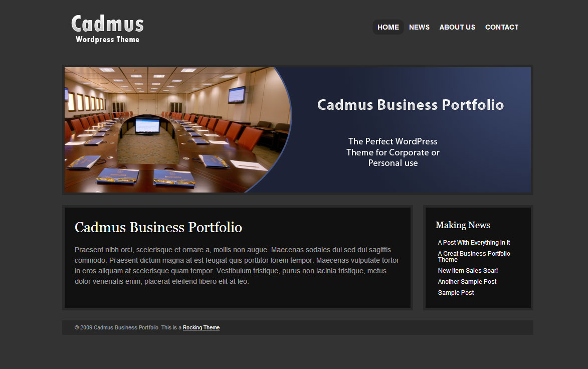 Cadmus Business Portfolio - 6 in 1 WordPress Theme - Cadmus Business Portfolio Home Page.