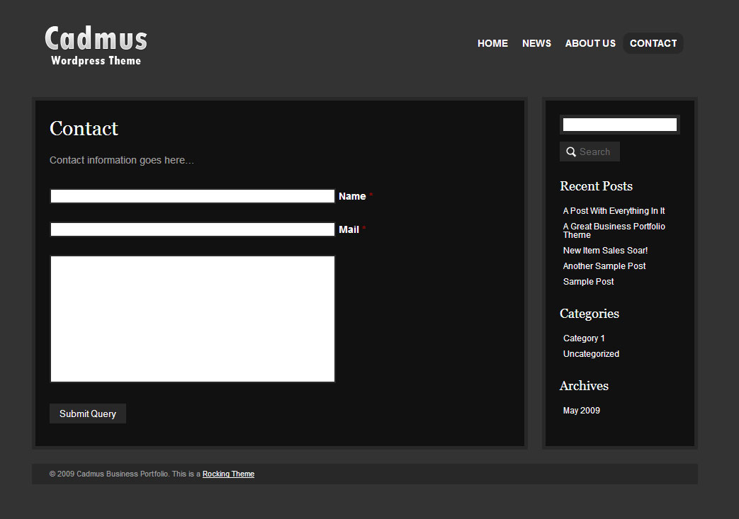 Cadmus Business Portfolio - 6 in 1 WordPress Theme - The Contact Template Page with working AJAX / PHP contact form