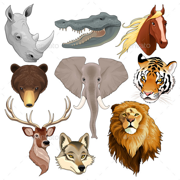 GraphicRiver Set of Animal Heads 9938054