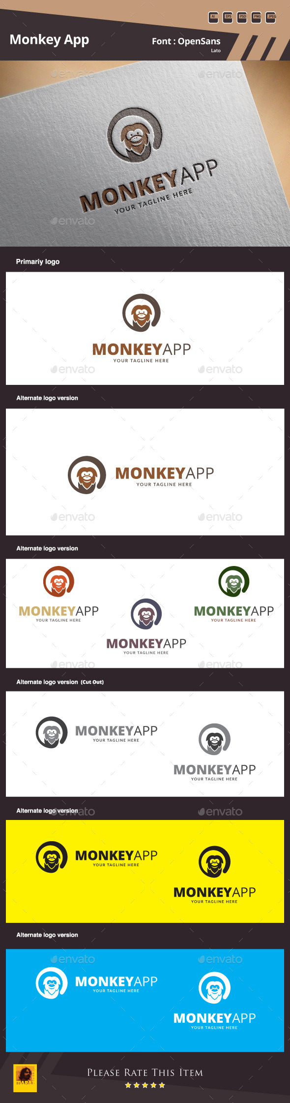GraphicRiver Monkey App Logo Template 9938062