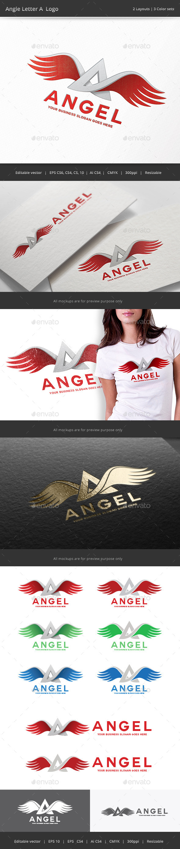 GraphicRiver Angel Wing Letter A Logo 9937176