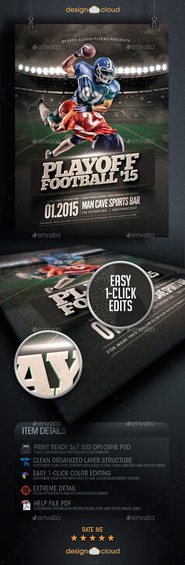 GraphicRiver Playoff Football Flyer Template 9938109