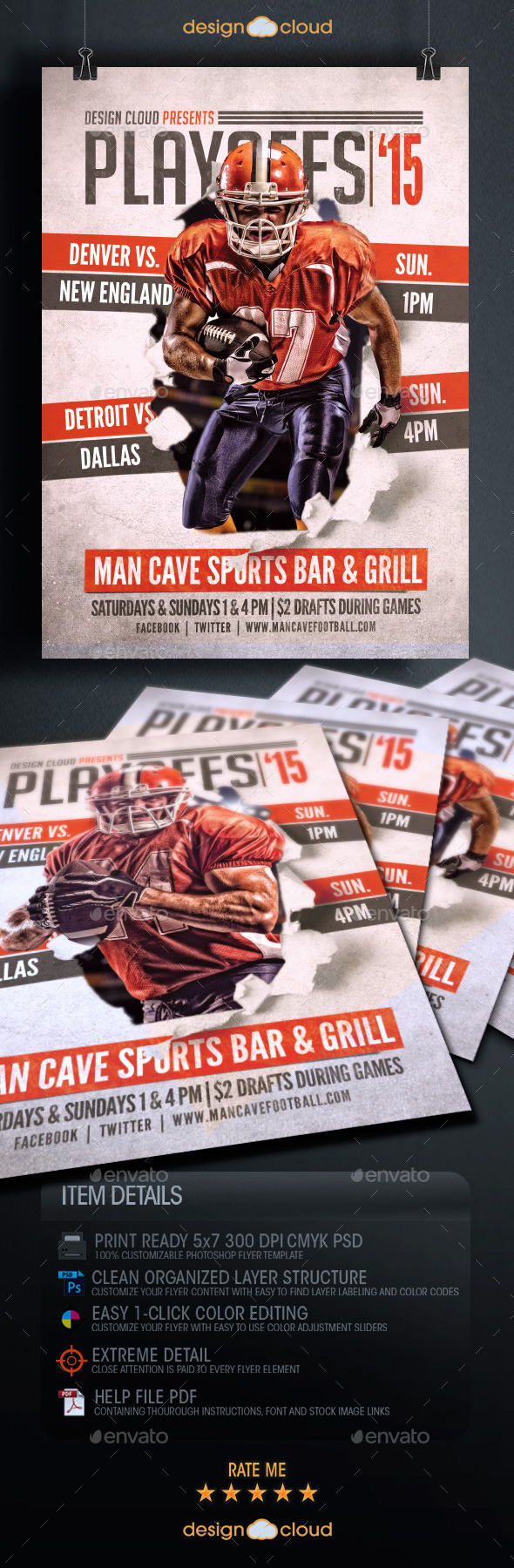 GraphicRiver Playoffs 15 Flyer Template 9938114