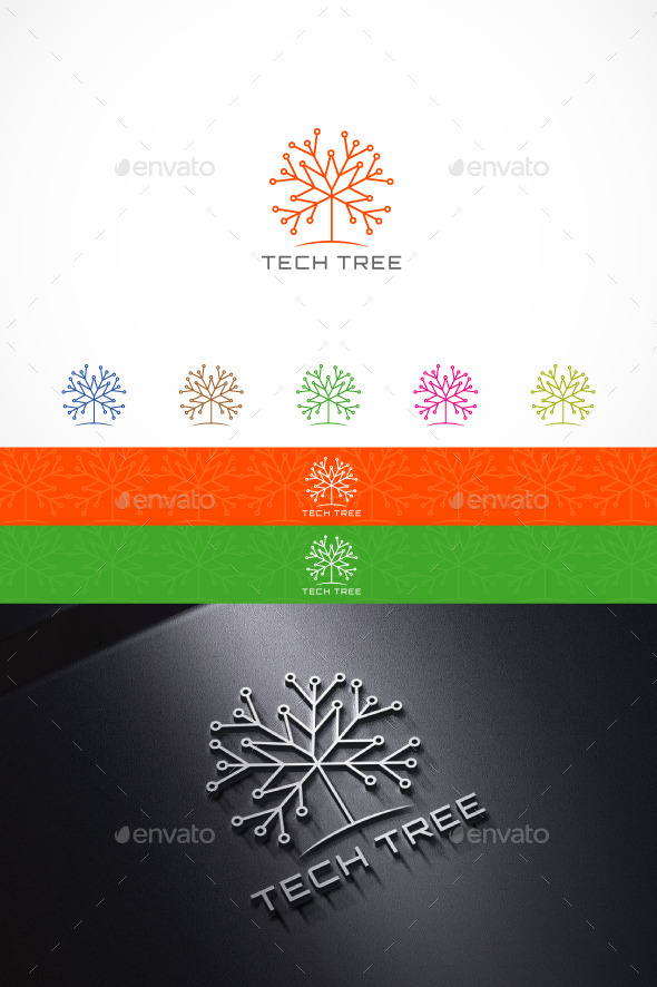 GraphicRiver Tech Tree Logo 9938620