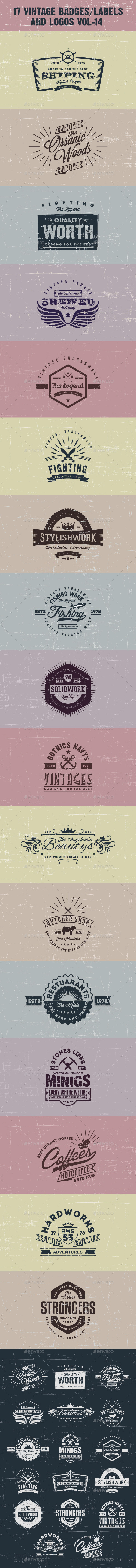 GraphicRiver 17 Vintage Badges labels and Logos Vol-14 9938664