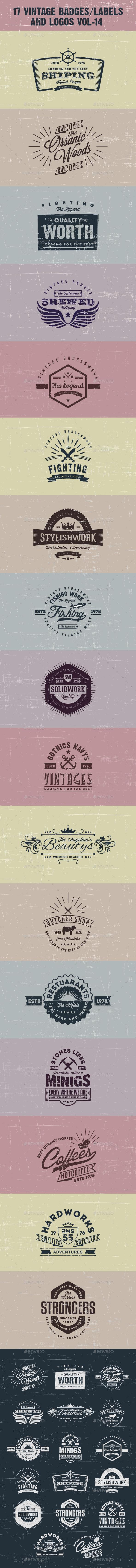 GraphicRiver 17 Vintage Badges labels and Logos Vol-14 9938664