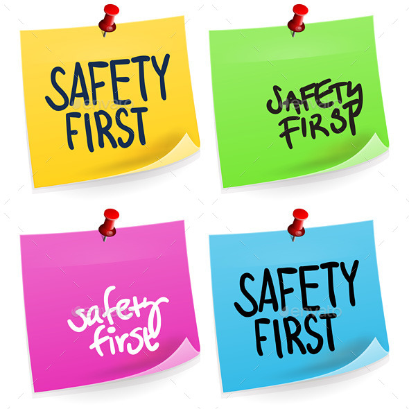 GraphicRiver Safety First Sticky Note 9938909