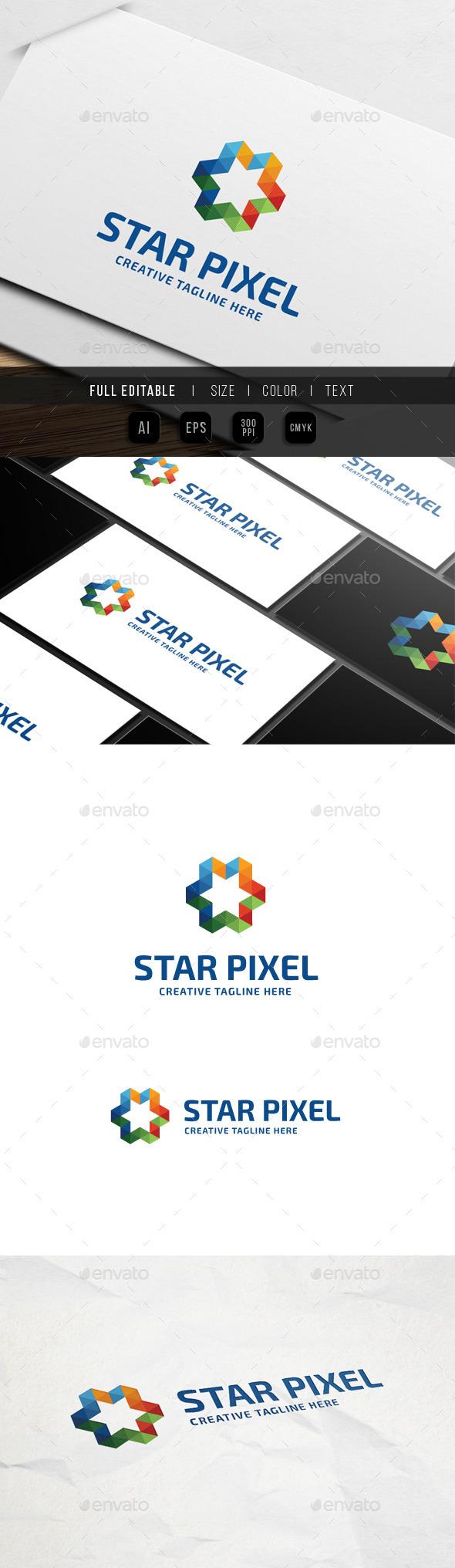 GraphicRiver Star Triangle Pixel Logo 9938986