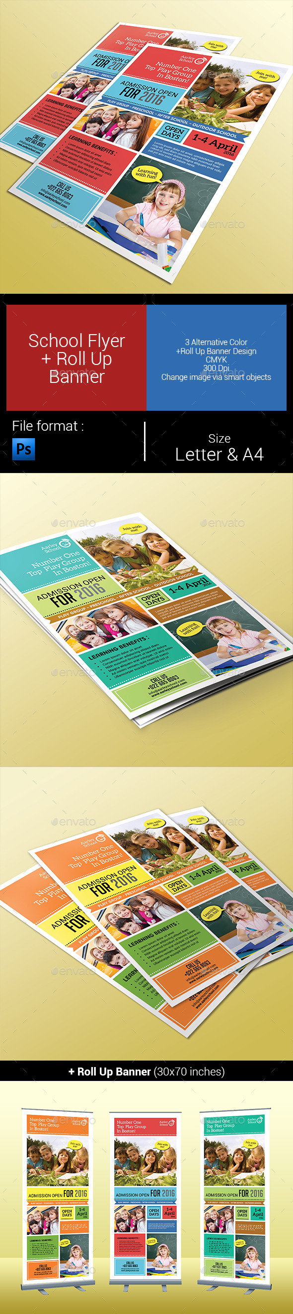 GraphicRiver School Flyer & Roll Up Banner 9939123