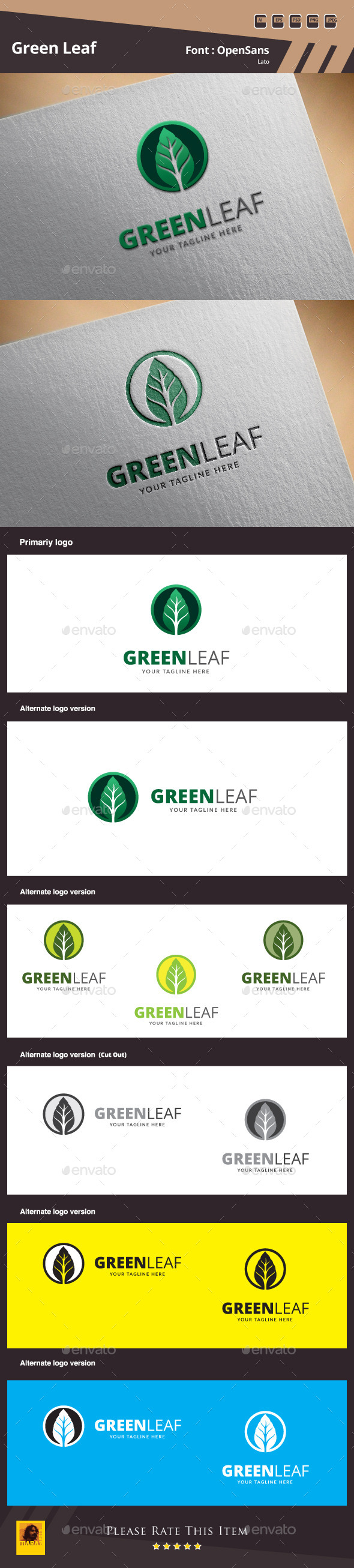 GraphicRiver Green Leaf Logo Template 9939268