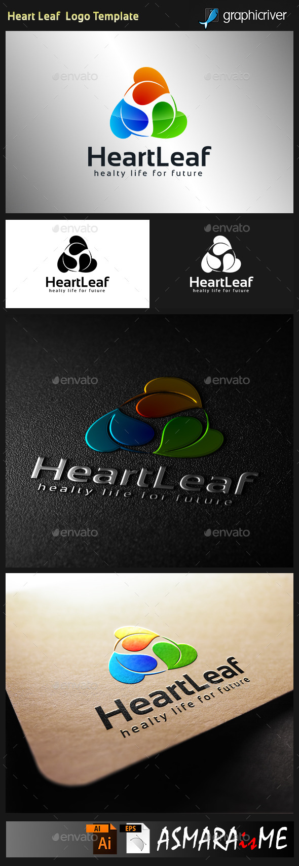 GraphicRiver Heart Leaf Logo 9939377