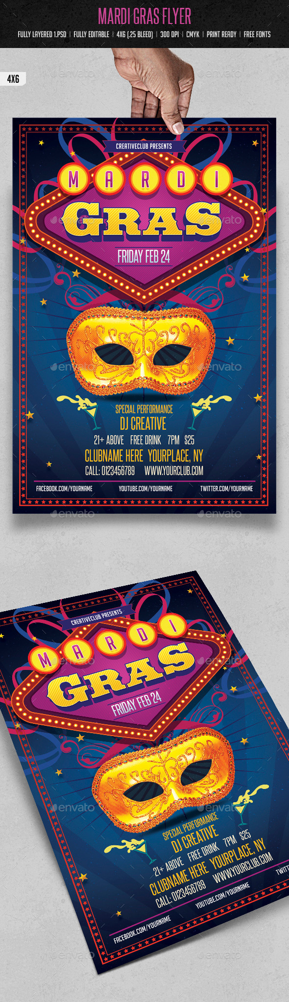 GraphicRiver Mardi Gras Flyer 9937232