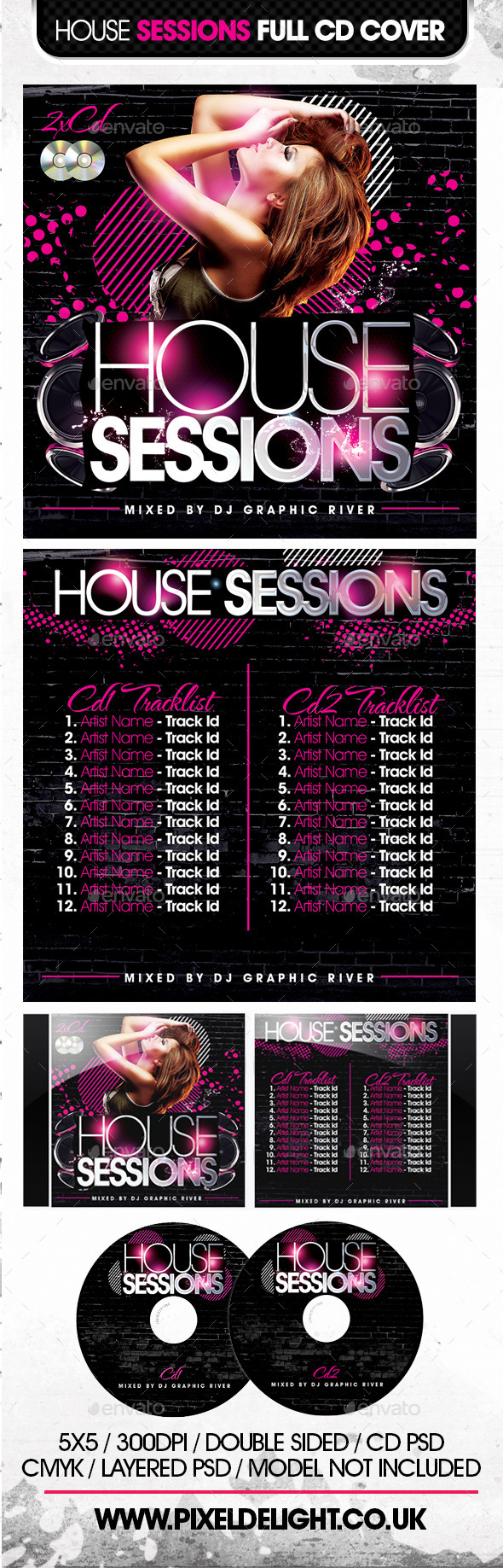 GraphicRiver House Sessions CD Cover 9939503