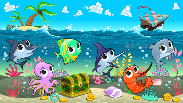 GraphicRiver Marine Animals in the Sea with Galleon 9940184