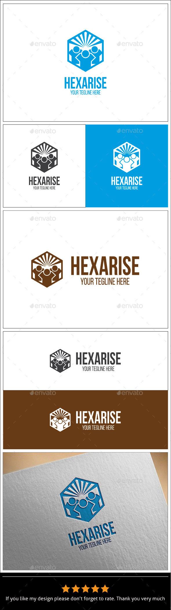 GraphicRiver Hexa Rise Logo Template 9940652