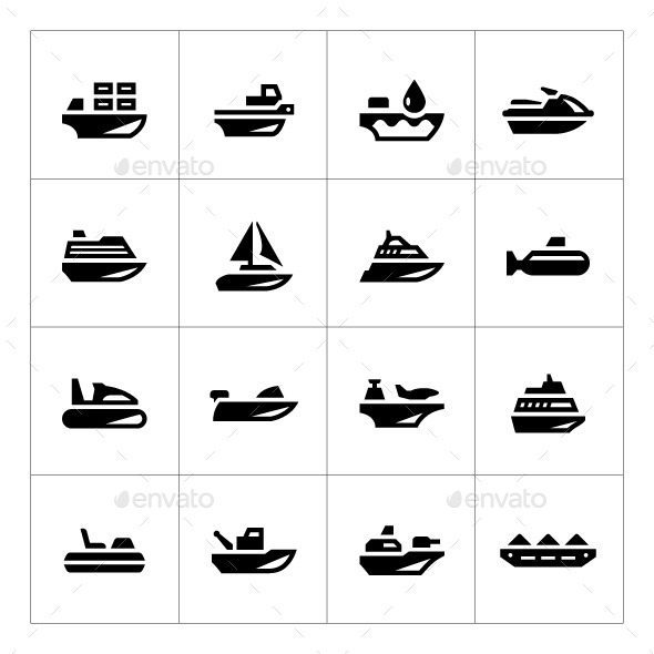 GraphicRiver Set Icons of Water Transport 9941196