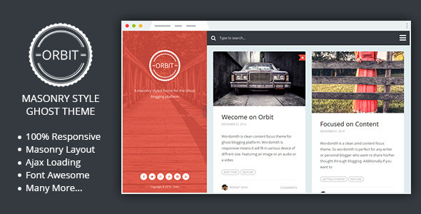 ThemeForest Orbit Masonry Style Responsive Ghost Theme 9941617