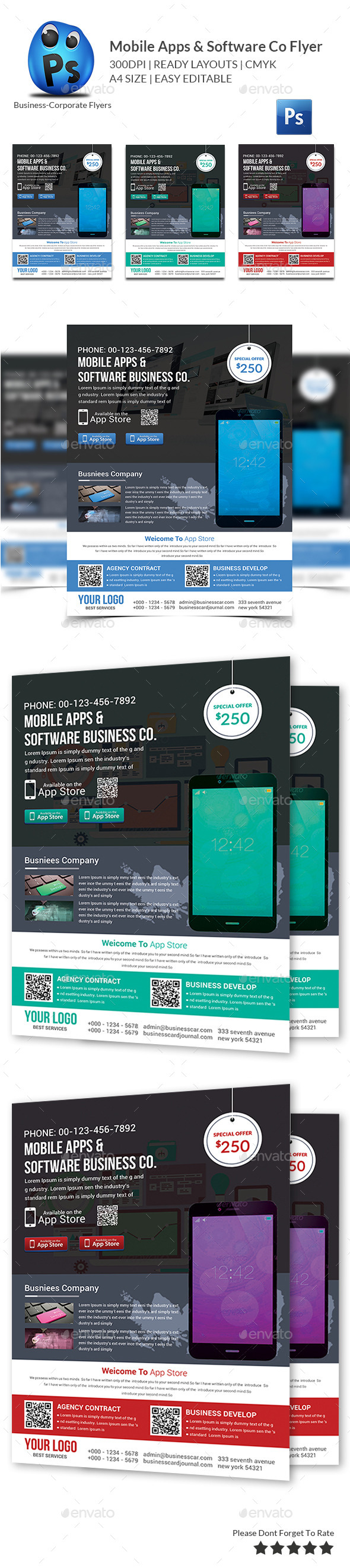 GraphicRiver Mobile Apps & Software Co Flyer 9941775