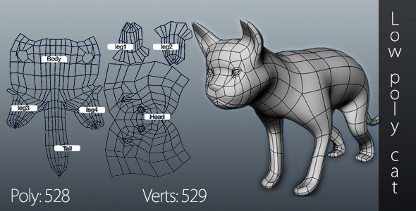 3DOcean Low poly cat 9941778