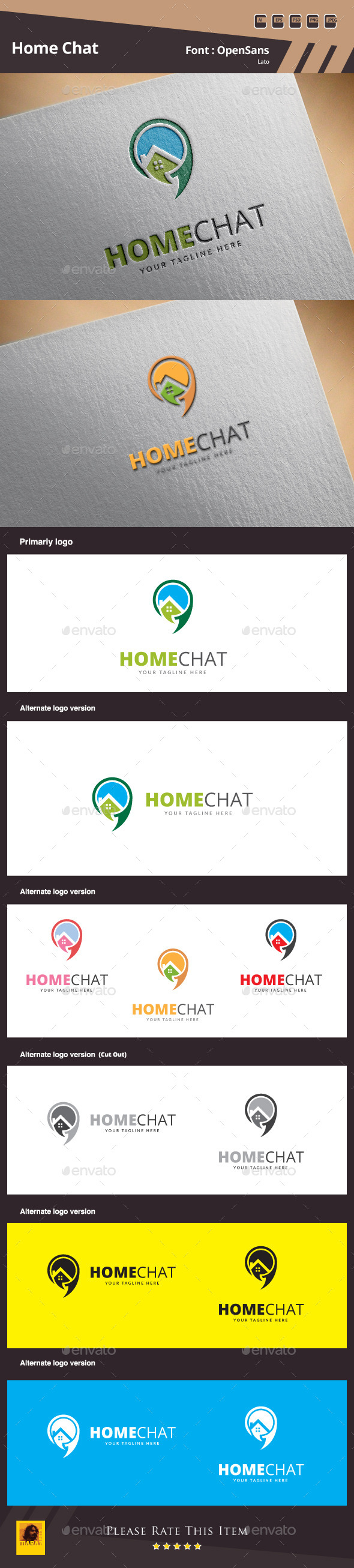 GraphicRiver Home Chat Logo Template 9942383