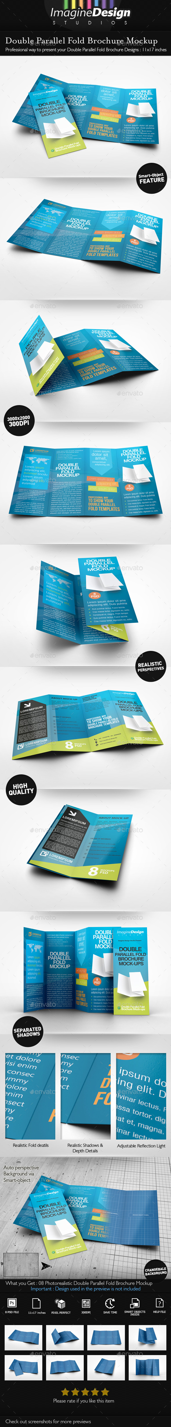 GraphicRiver Double Parallel Fold Brochure Mockup 9942412