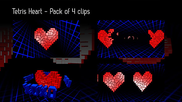 Tetris Heart Backgrounds Pack Of 4