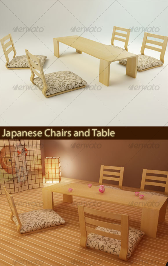 3DOcean Japanese Chairs and Table 126136