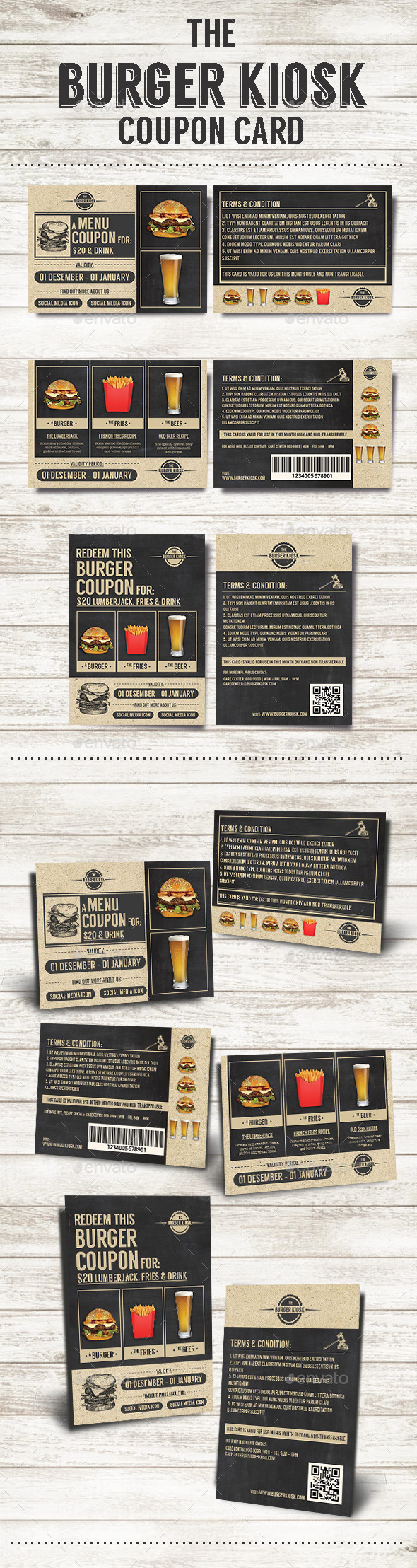 GraphicRiver The Burger Kiosk Coupon Card 9942865