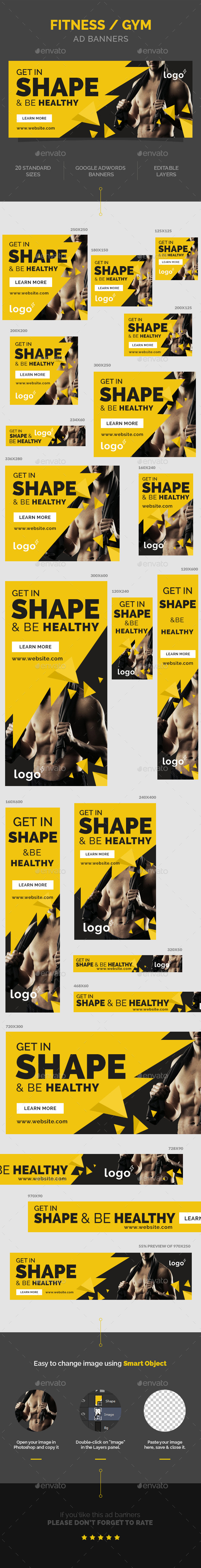 GraphicRiver Fitness Gym Ad Banners 9943121