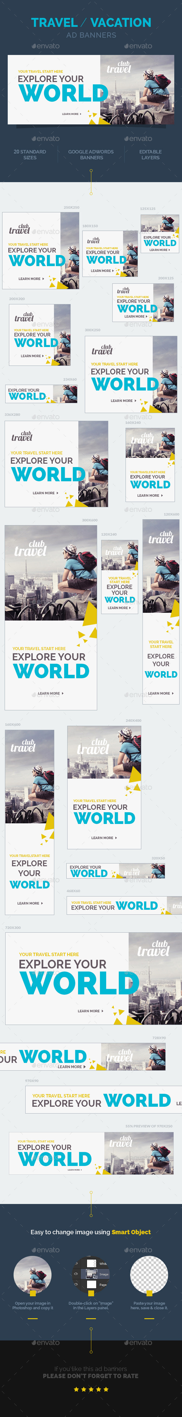 GraphicRiver Travel Vacation Ad Banners 9943122