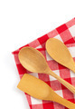 wooden kitchen tools at cloth napkins on white - PhotoDune Item for Sale