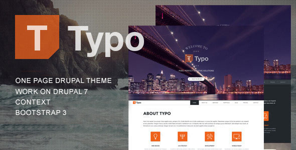 ThemeForest Typo One Page Drupal Theme 9944554