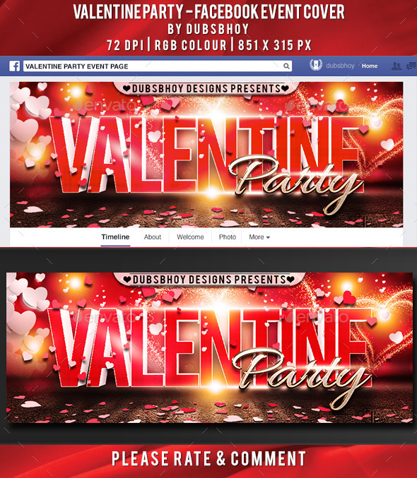 GraphicRiver Valentine Party Facebook Cover 9944556