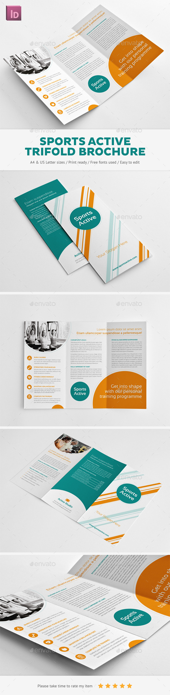 GraphicRiver Sports Active Trifold Brochure 9944636
