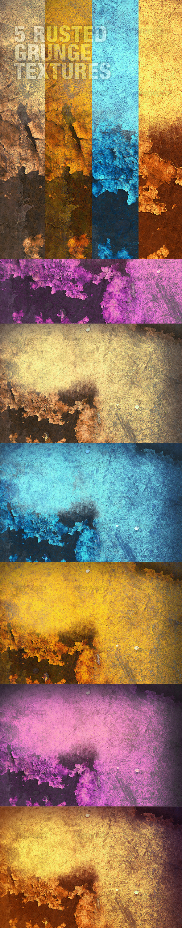 A Rusted Grunge Textures Pack in 5 Colours