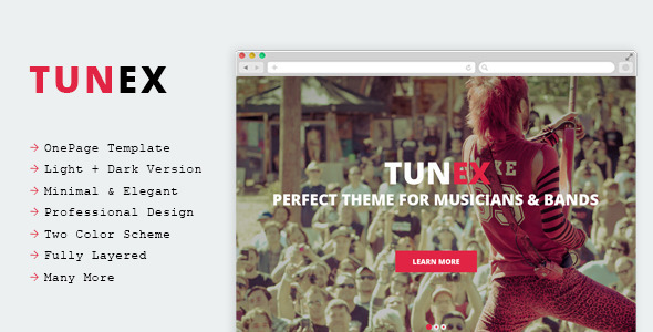 ThemeForest TUNEX Music & Entertainment PSD Template 9945096