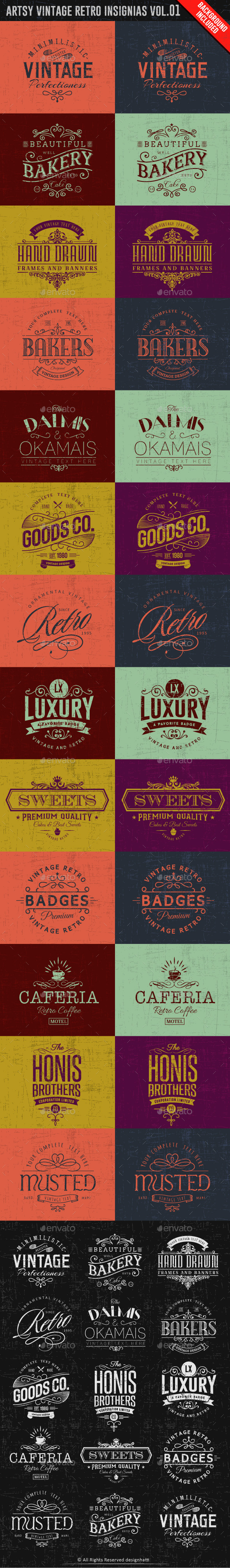 GraphicRiver Artsy Vintage Retro Insignia and Logos Vol.01 9945396