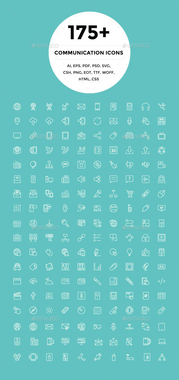 GraphicRiver 175& Communication Icons 9945615