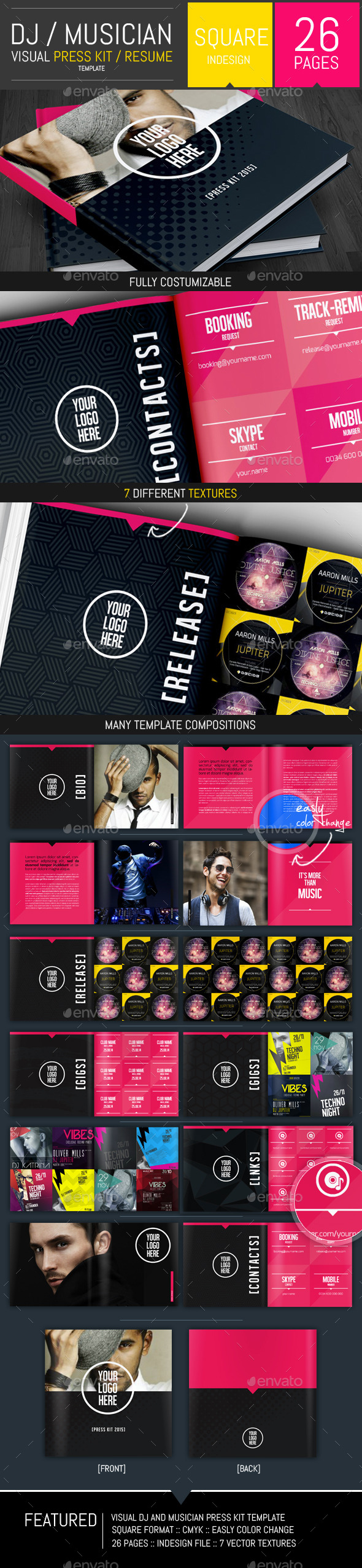 GraphicRiver Dj and Musician Visual Press Kit Resume Template 9945667