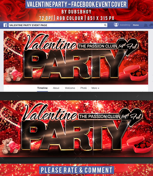 GraphicRiver Valentine Facebook Event Cover 9945677