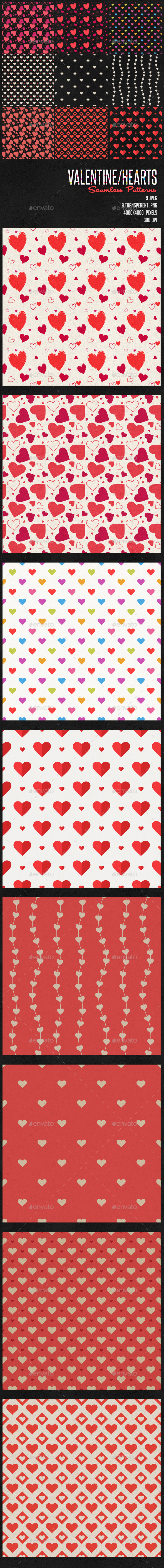 GraphicRiver Valentines Heart Patterns 9945690