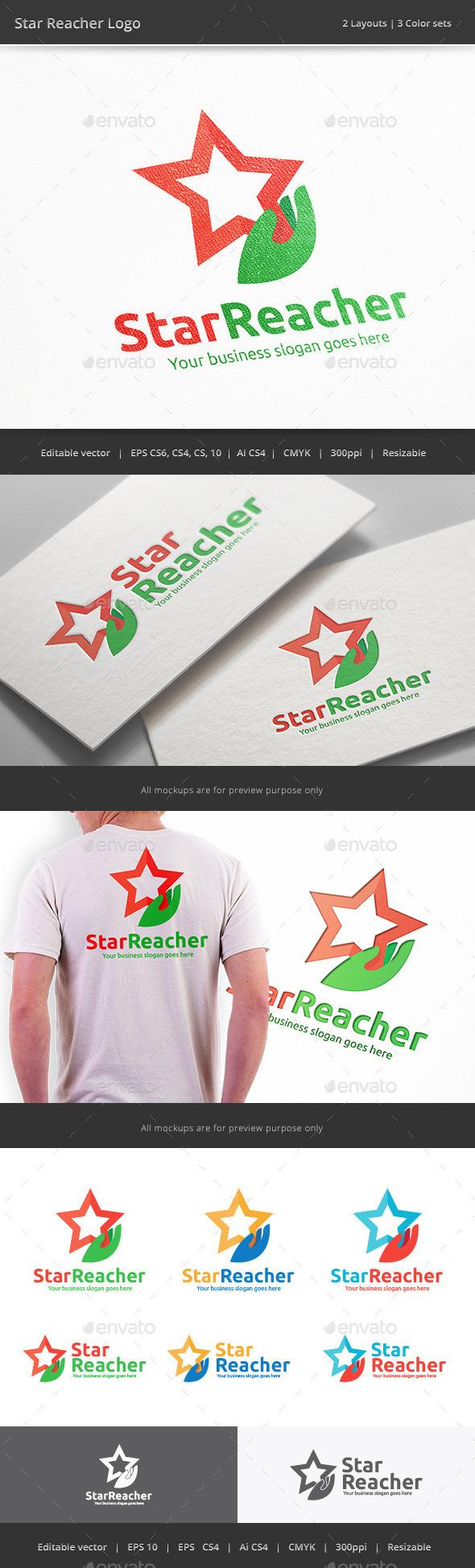 GraphicRiver Star Reacher Hand Logo 9945805
