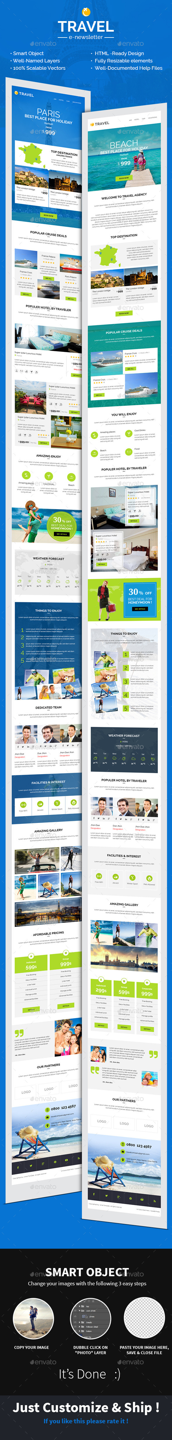 Travel Hotel E-newsletter PSD Template