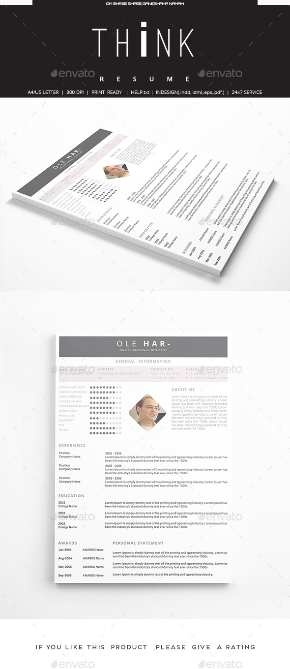 GraphicRiver Think Resume 9945953