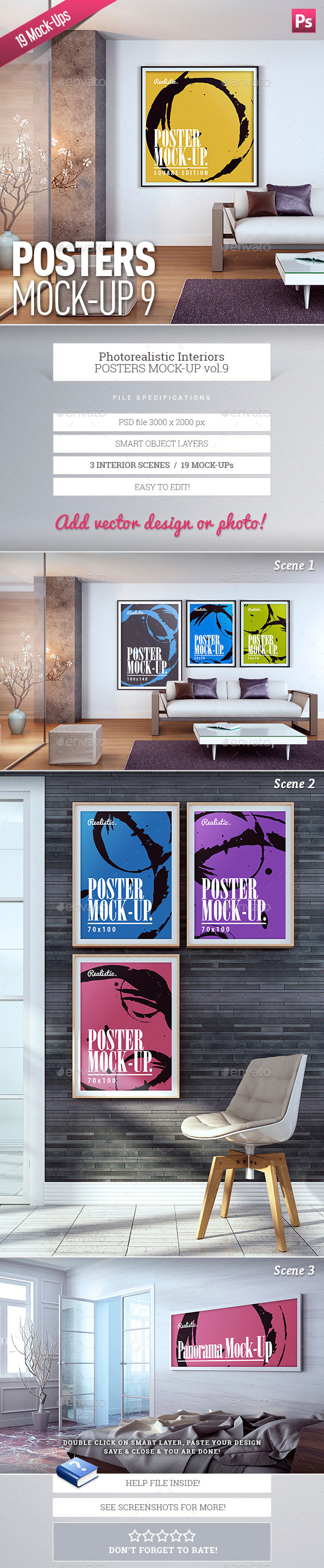 GraphicRiver Posters Mock-Up Vol.9 9946033