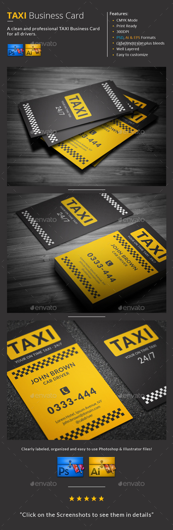 GraphicRiver Taxi Business Card 9946256